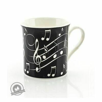 Mug - Music Notes - White On Black