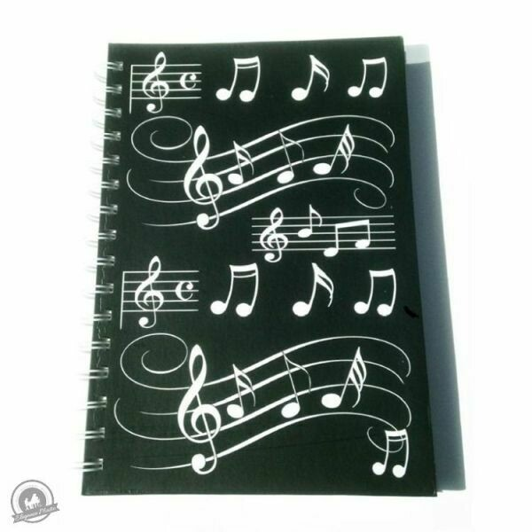 A5 Hardback Spiral Bound Notebook - Black With White Musical Notes