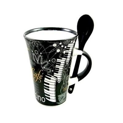 Cappuccino Mug With Spoon - Grand Piano Black