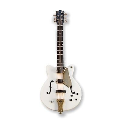 3D Electric Guitar White and Gold Magnet