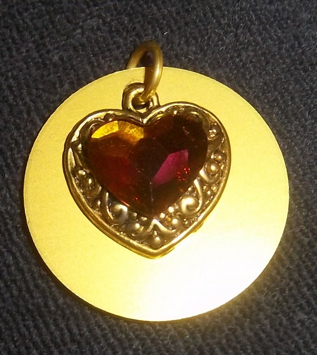 RED CRYSTAL HEART with Auric Disk NECKLACE 00018