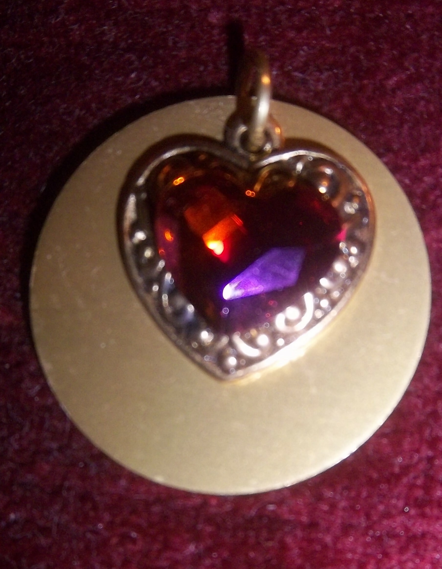 RED CRYSTAL HEART with Auric Disk NECKLACE