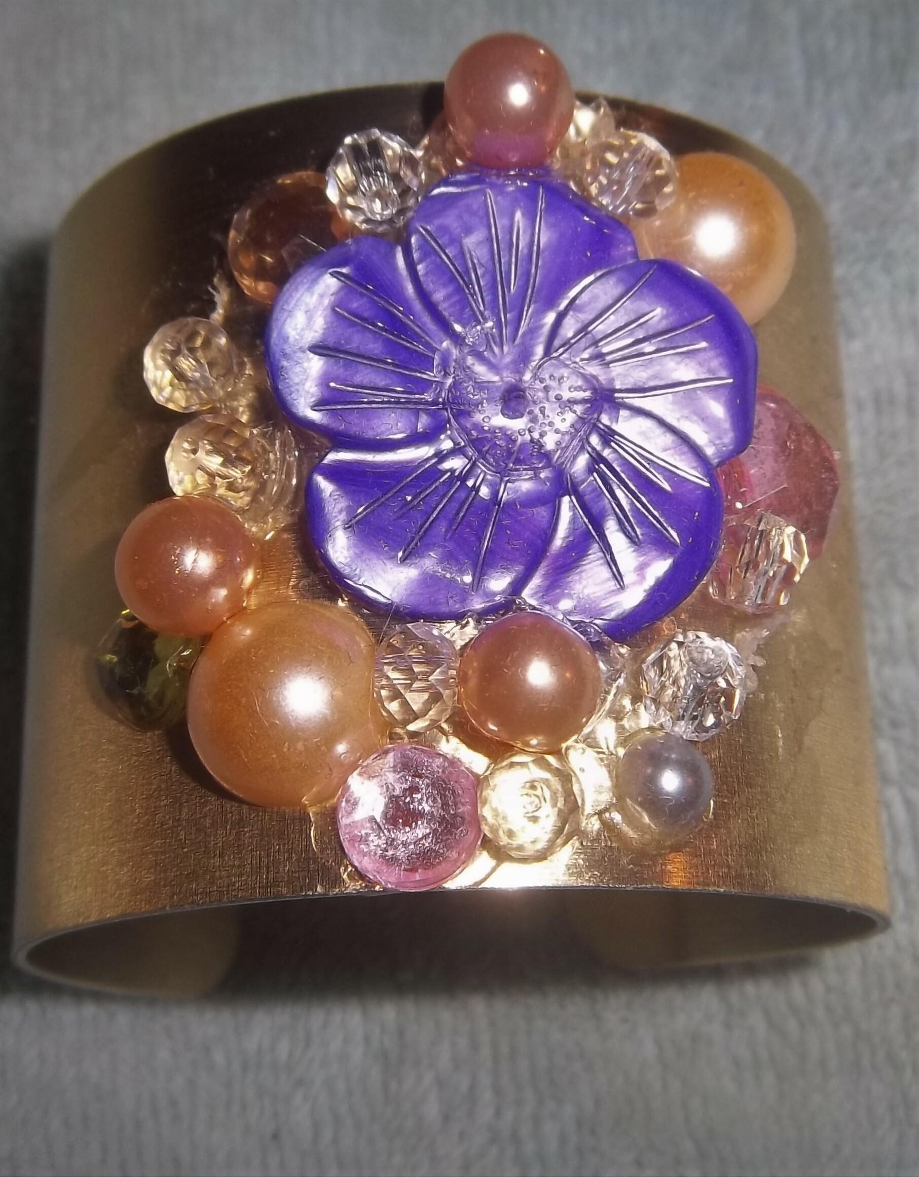 Gold Auric Bracelet, Purple Flower 00028