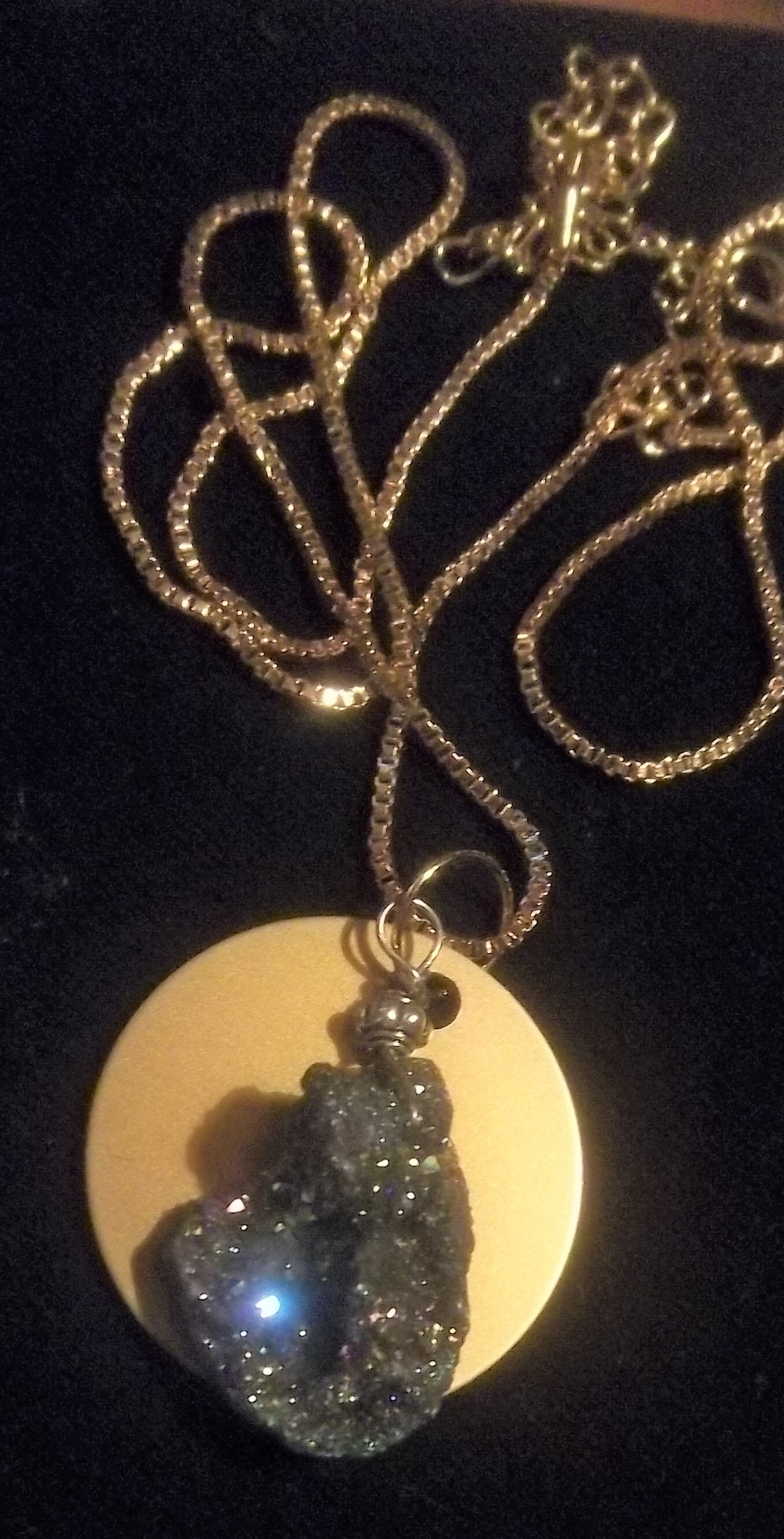 Mystical Druzy Stone with Auric Disk Necklace- ONLY ONE 00047