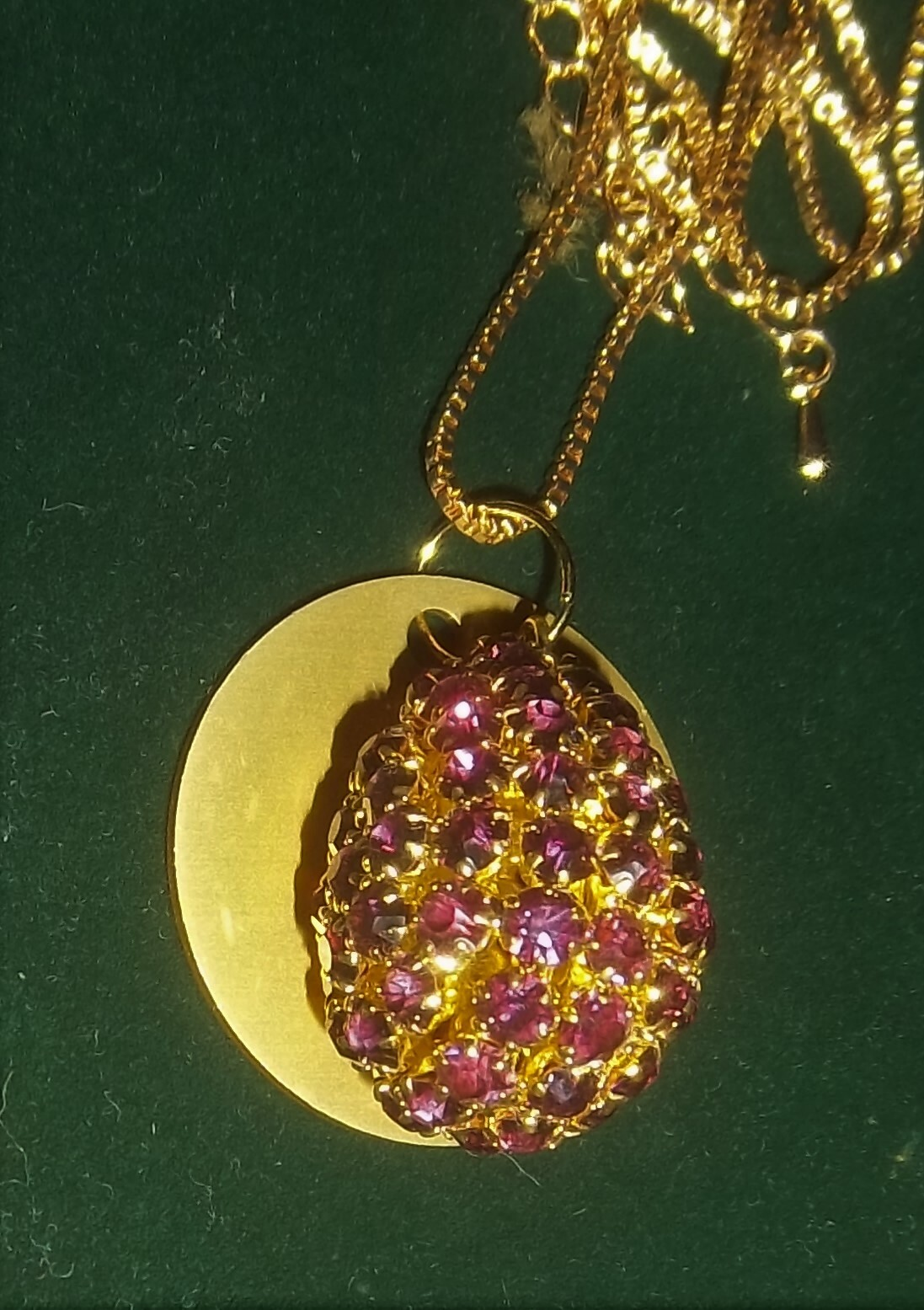 Purple Crystals Pendant w/ Auric Disk Necklace ONLY ONE 00046