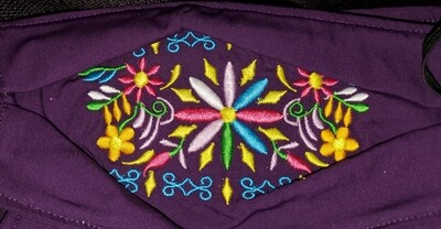 MULTI COLORED CENTER FLORAL EMBROIDERED DESIGN