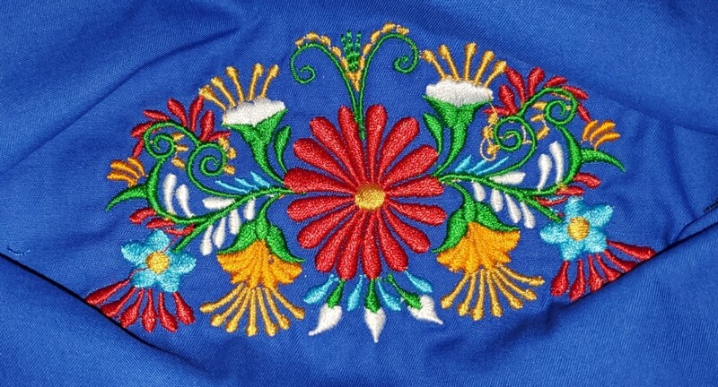 LARGE CENTER FLORAL  Embroidered Design