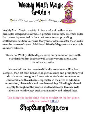 First Grade CCSS Weekly Math Magic