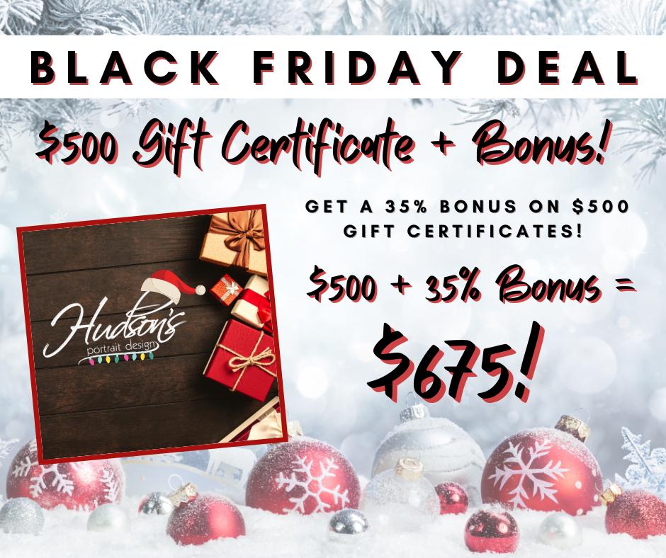 $500 Gift Certificate - 35% BONUS + Charity Donation!