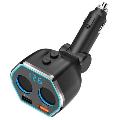 QC3.0 Smart Car Charger, 2 Socket + 2 USB