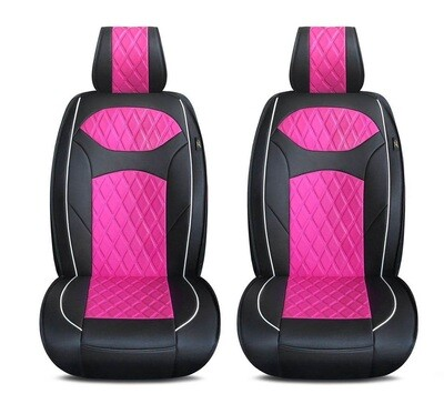 Universal PU Leather Car Seat Cover Cushion for Front Seat - 2 Pair - Black/Pink