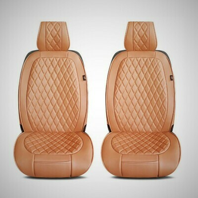 Universal PU Leather Car Seat Cover Cushion for Front Seat - 2 Pair - Brown
