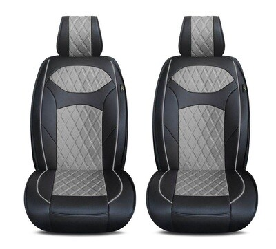 Universal PU Leather Car Seat Cover Cushion for Front Seat - 2 Pair - Black/Grey