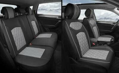 Universal PU Leather Car Seat Cover Cushion 5 Seat -Full Set - Black/Grey