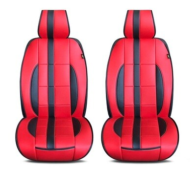 Universal PU Leather Car Seat Cover Cushion for Front Seat - 2 Pair - Red/Black