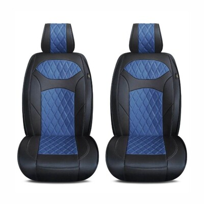 Universal PU Leather Car Seat Cover Cushion for Front Seat - 2 Pair - Black/Blue