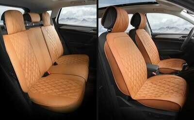 Universal PU Leather Car Seat Cover Cushion 5 Seat -Full Set - Black/Brown