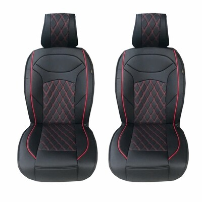 Universal PU Leather Car Seat Cover Cushion for Front Seat - 2 Pair - Black/Red