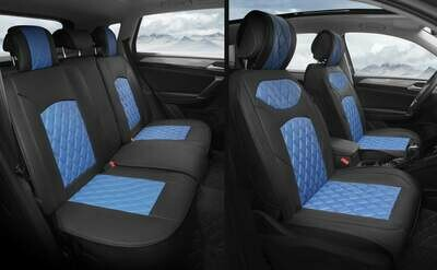 Universal PU Leather Car Seat Cover Cushion 5 Seat -Full Set - Black/Blue
