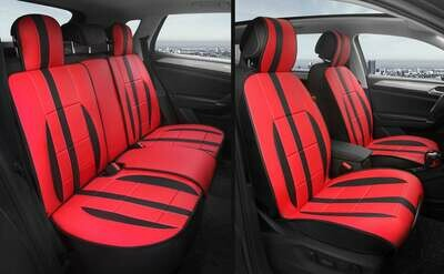 Universal PU Leather Car Seat Cover Cushion 5 Seat -Full Set - Red/Black