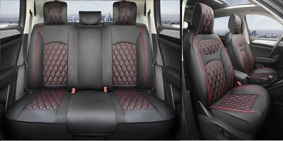 Universal PU Leather Car Seat Cover Cushion 5 Seat -Full Set - Black/Red