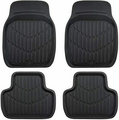 Universal TPE Fit Car Floor Mats, Set of 4, Fit for Suvs,Vans,Sedans,Trucks, Elegant Black