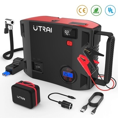 Portable Jump Starter with Air Compressor, 150 PSI 2000A 24000mAh(8L Gas 7.5L Diesel Engine) 12V Battery Jump Pack with Emergency Light LCD Screen USB QC3.0 for Cars, Trucks, SUV