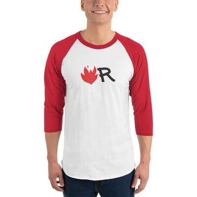 Flame 3/4 sleeve raglan shirt