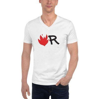 Flame Unisex Short Sleeve V-Neck T-Shirt