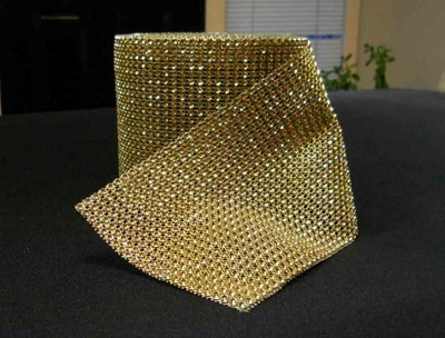 Rhinestone Mesh Buckle Roll (10 yards, Gold)
