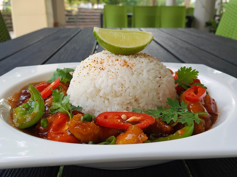 (GA XAO CAY) Firecracker Chicken With rice
