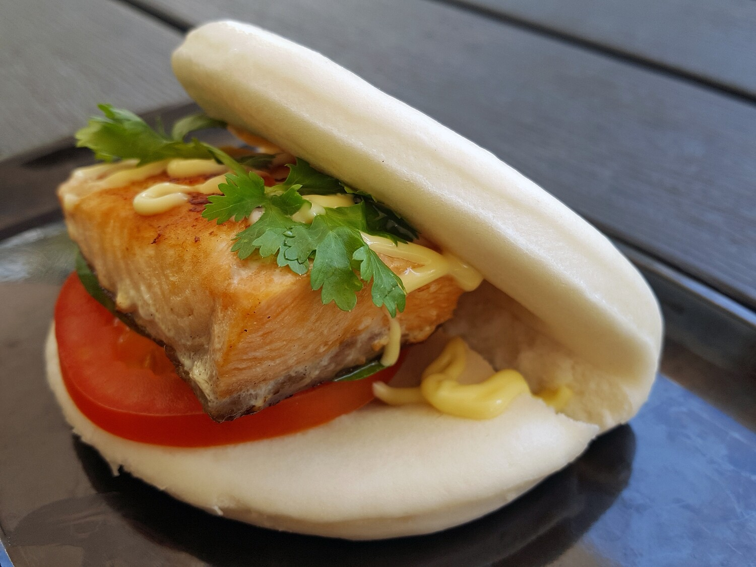 Hirata Steamed Bun With Grilled Salmon