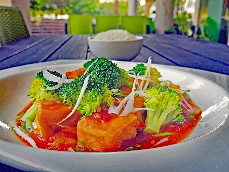 (DAU SOT CA) Fried Tofu Simmered in Fresh Tomato