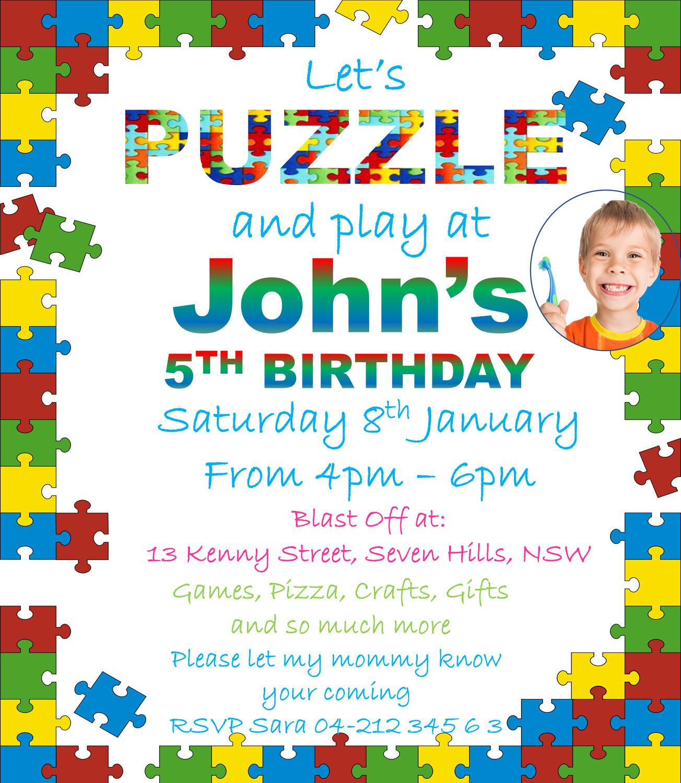 Autism Personalized Birthday / Event Invitation Card
