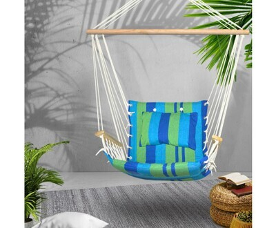 Gardeon Hammock Swing Chair - Blue & Green