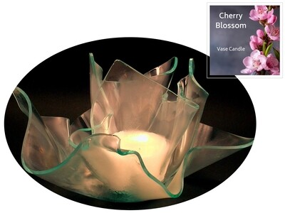 2 Cherry Blossom Candle Refills | Clear Satin Vase & Dish Set