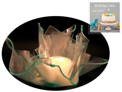 2 Birthday Cake Candle Refills |Clear Satin Vase & Dish Set
