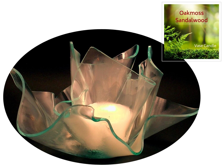 2 Oakmoss Sandalwood Candle Refills | Clear Satin Vase & Dish Set