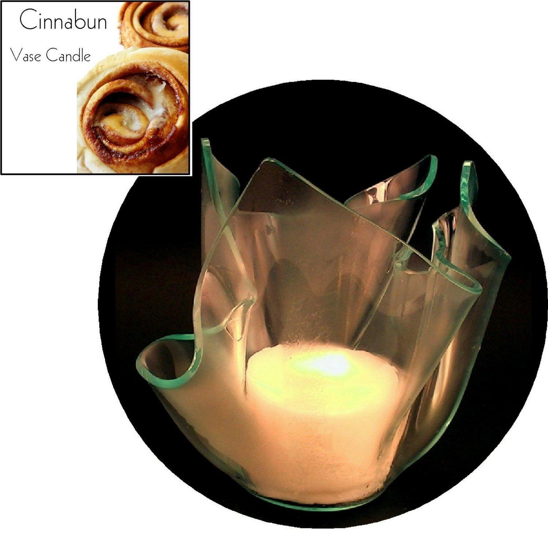 3 Cinnabun Candle Refills | Clear Satin Vase