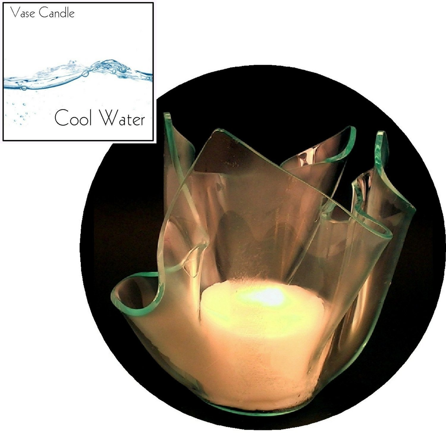 3 Cool Water Candle Refills | Clear Satin Vase
