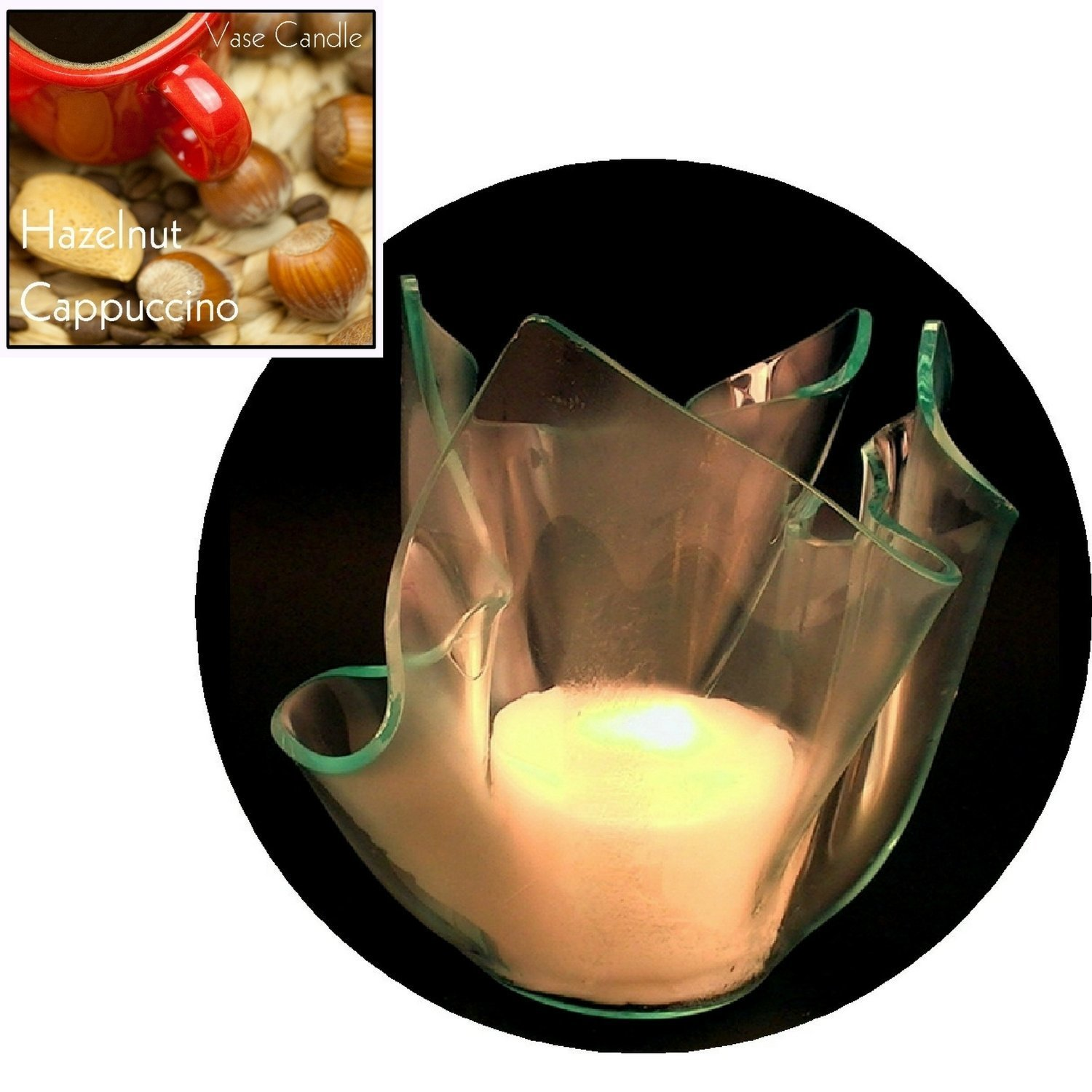3 Hazelnut Cappuccino Candle Refills | Clear Satin Vase
