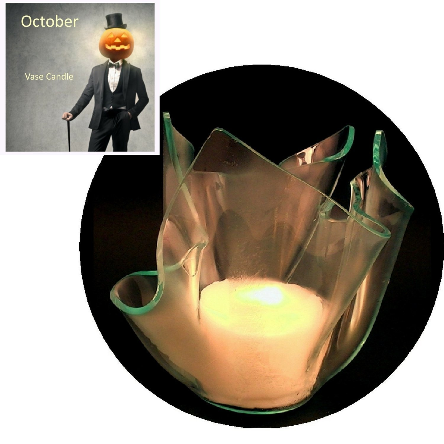 3 October Candle Refills | Clear Satin Vase