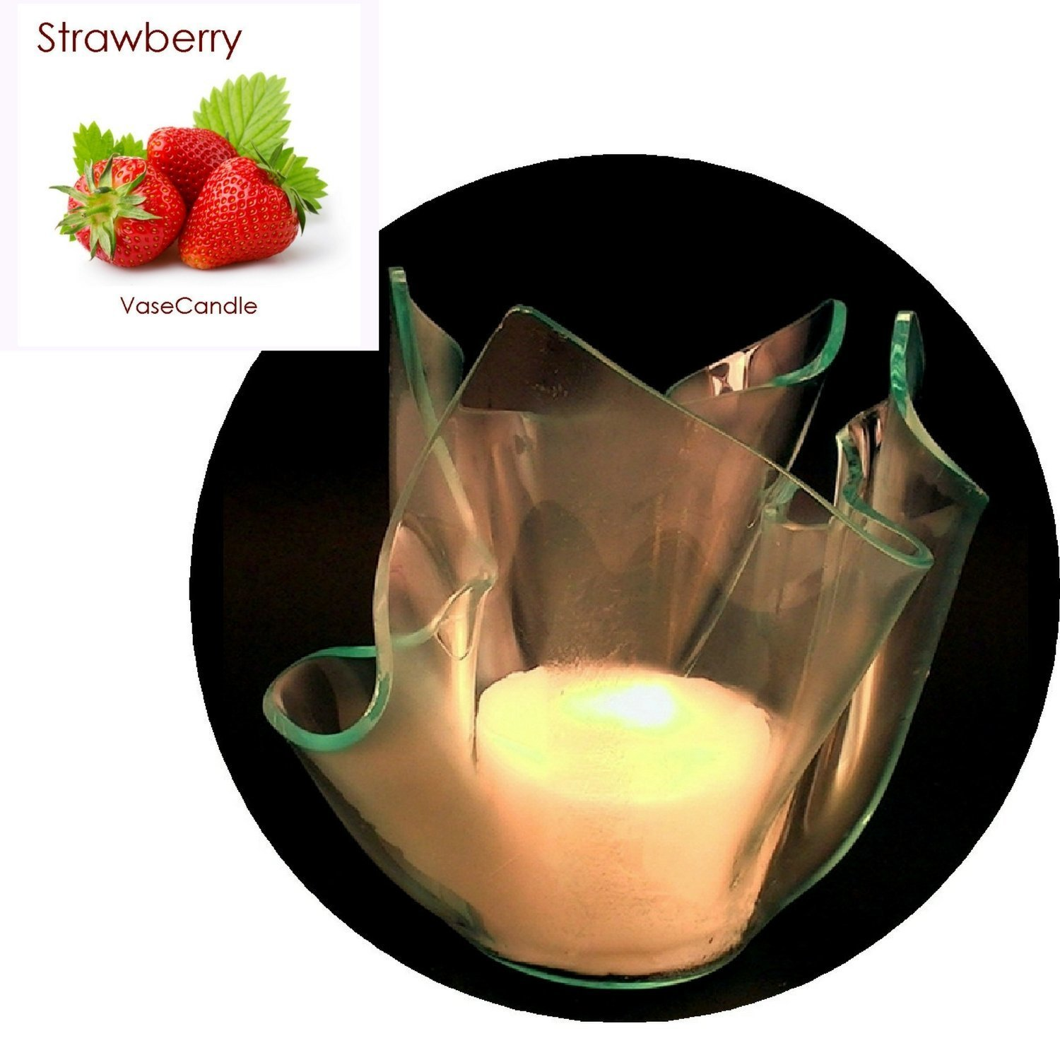3 Strawberry Candle Refills | Clear Satin Vase