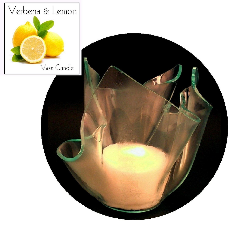 3 Verbena & Lemon Candle Refills | Clear Satin Vase