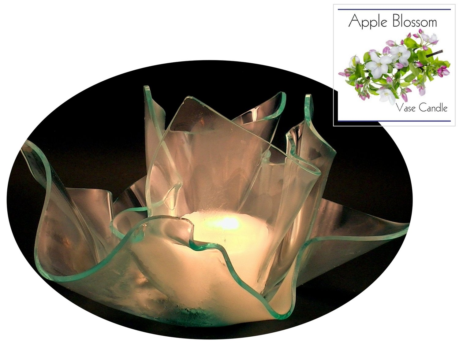 2 Apple Blossom Candle Refills |Clear Satin Vase & Dish Set