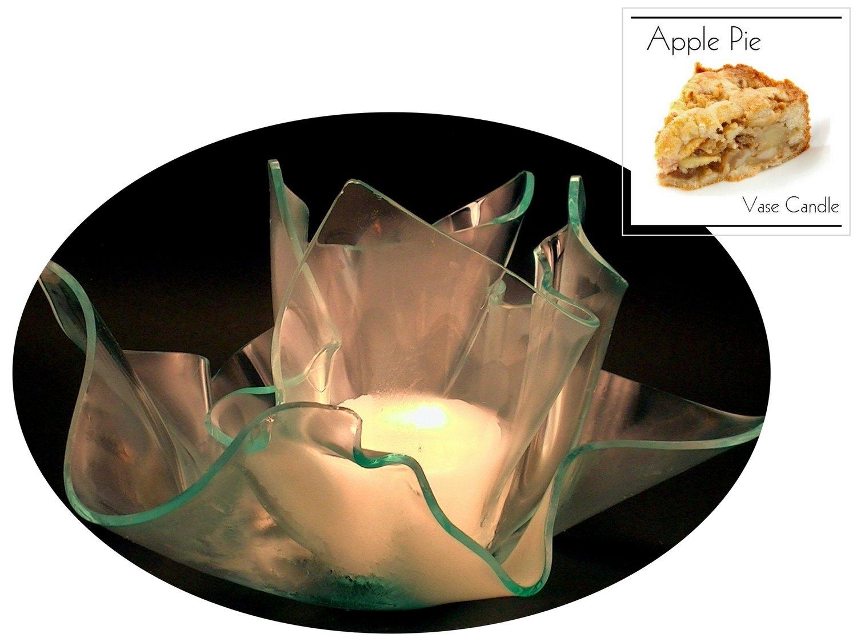 2 Apple Pie Candle Refills  Clear Satin Vase & Dish Set