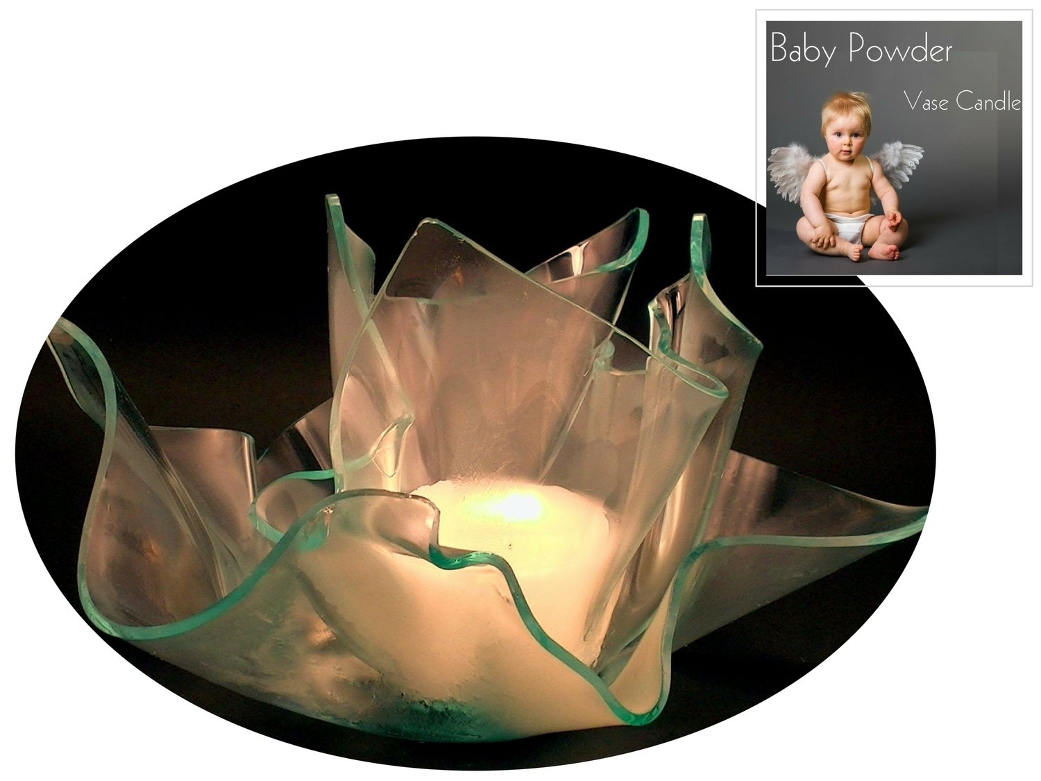 2 Baby Powder Candle Refills | Clear Satin Vase & Dish Set