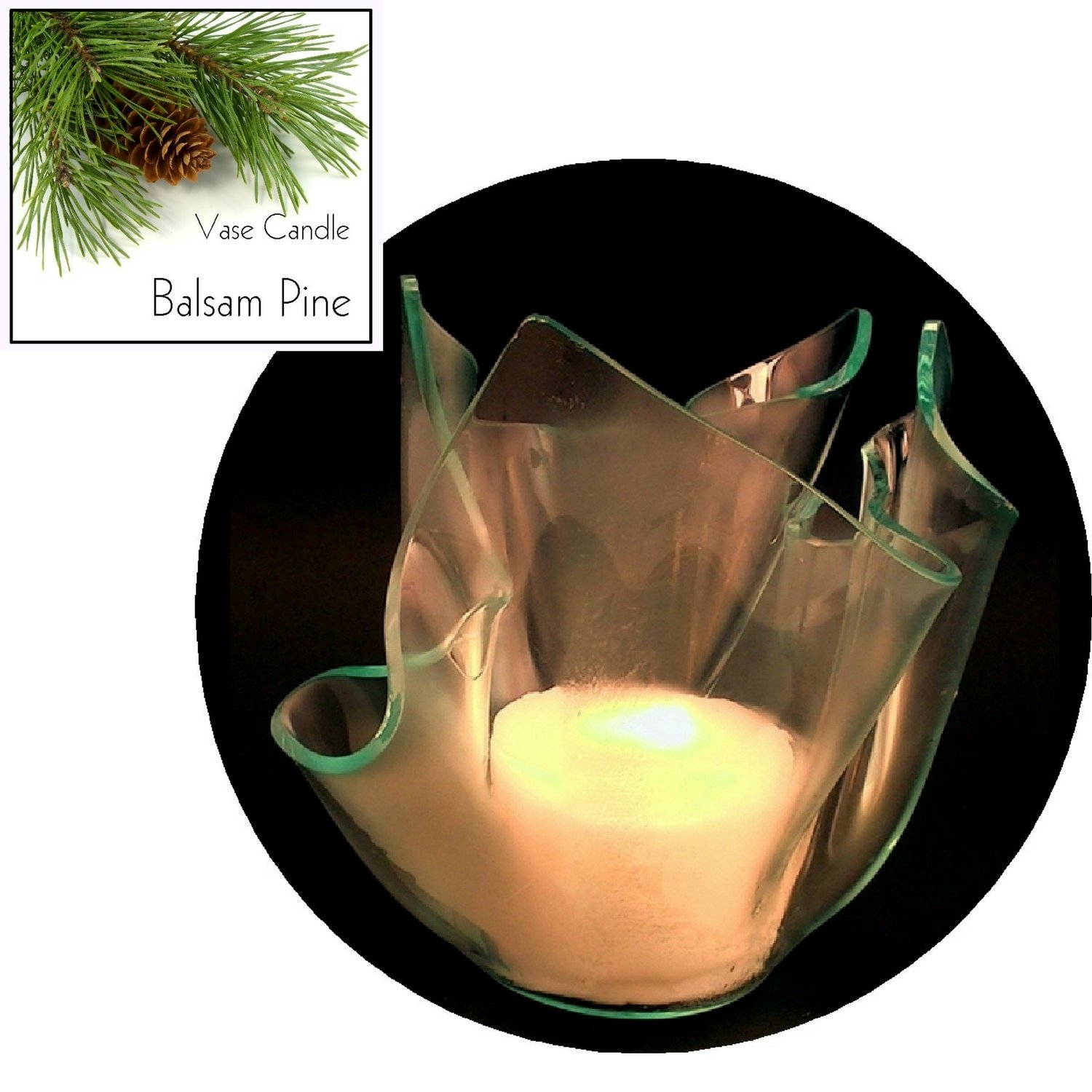 3 Balsam Pine Candle Refills   Clear Satin Vase