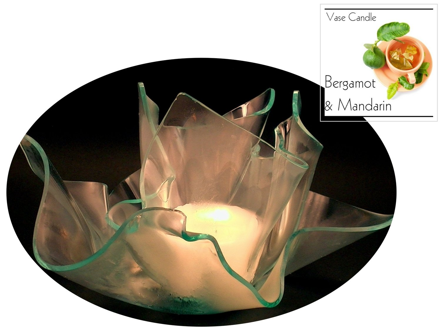 2 Bergamot and Mandarin Candle Refills | Clear Satin Vase & Dish Set