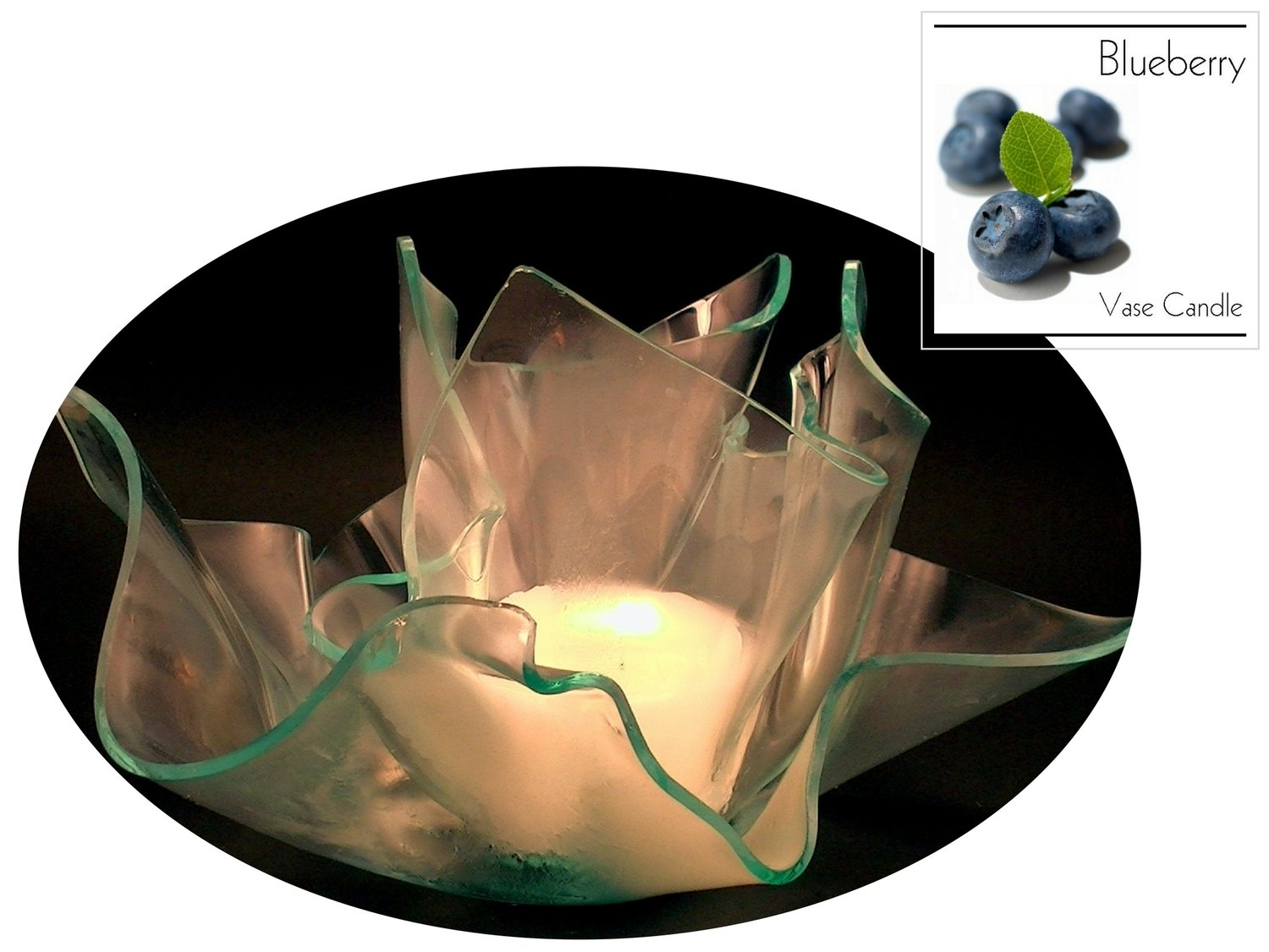2 Blueberry Candle Refills | Clear Satin Vase & Dish Set